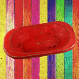 Wooden Red Dough Bowl