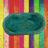 Wooden Turquoise Dough Bowl