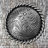 Floral Engraved 1-1/2 Inch Rope Trim Concho Sterling Finish - Front View