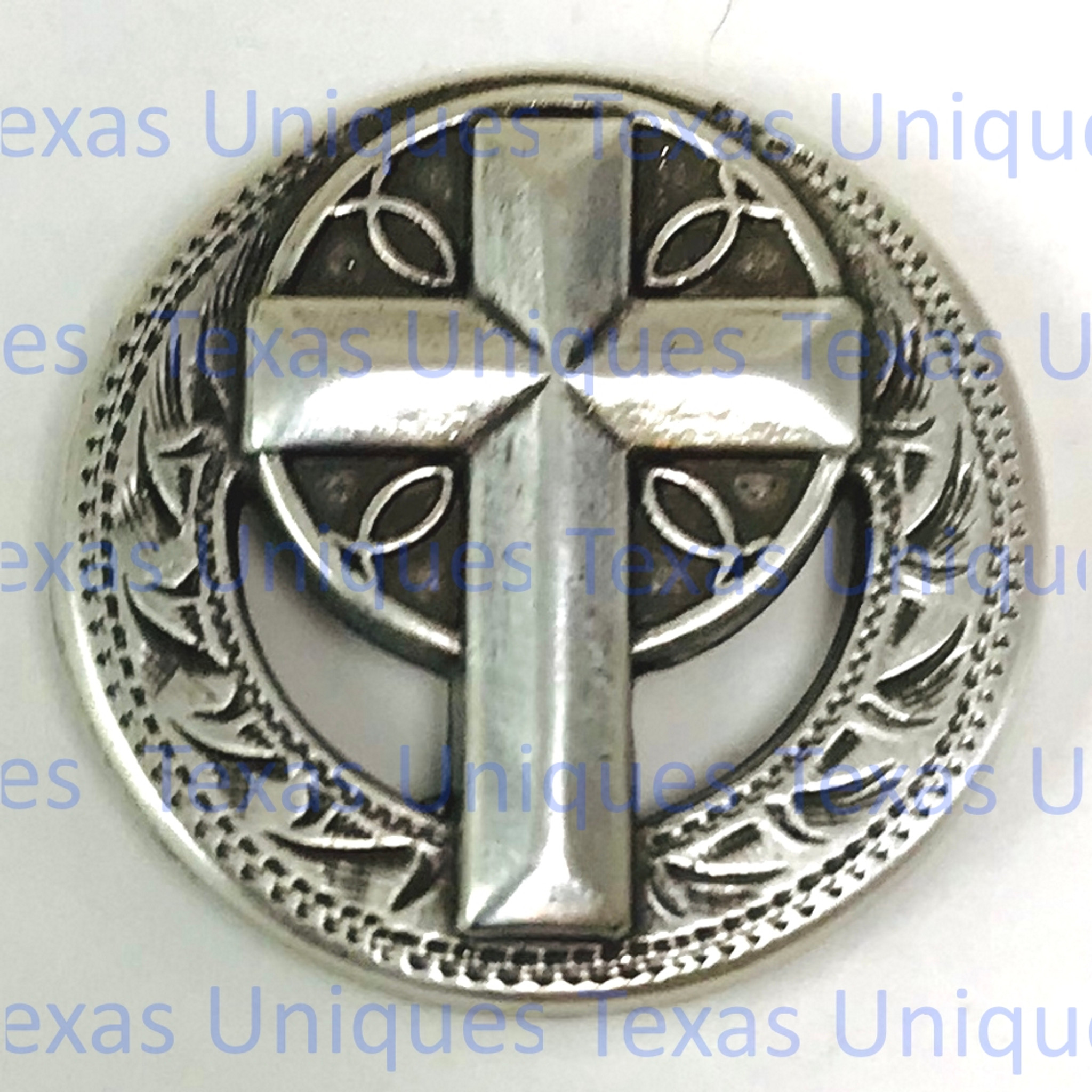 "Antiqued Silver Plate 1/"" Cross with Rope Border Concho Screwback"