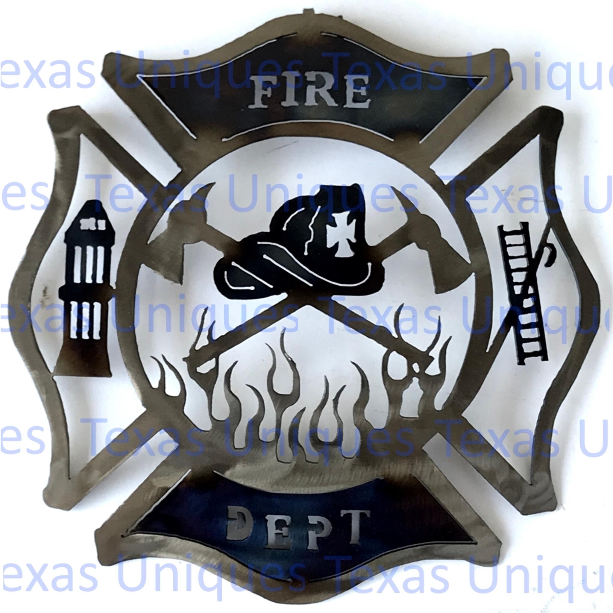 Fireman Cross Firefighter Maltese Cross Metal Wall Art Cut