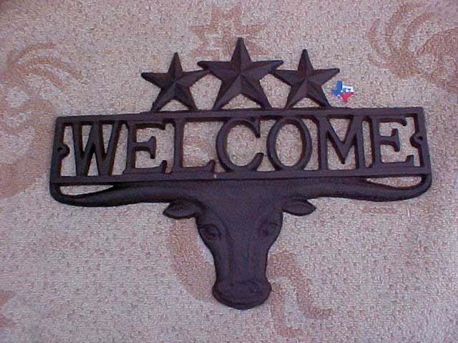 Rustic Metal Longhorn & Star Welcome Sign