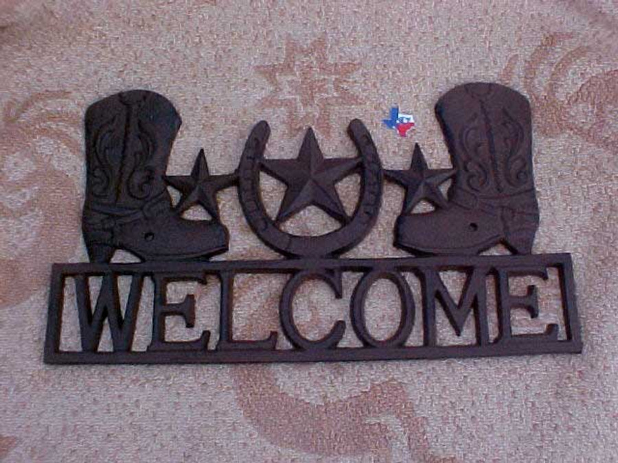 Rustic Metal Boot & Star Welcome Sign
