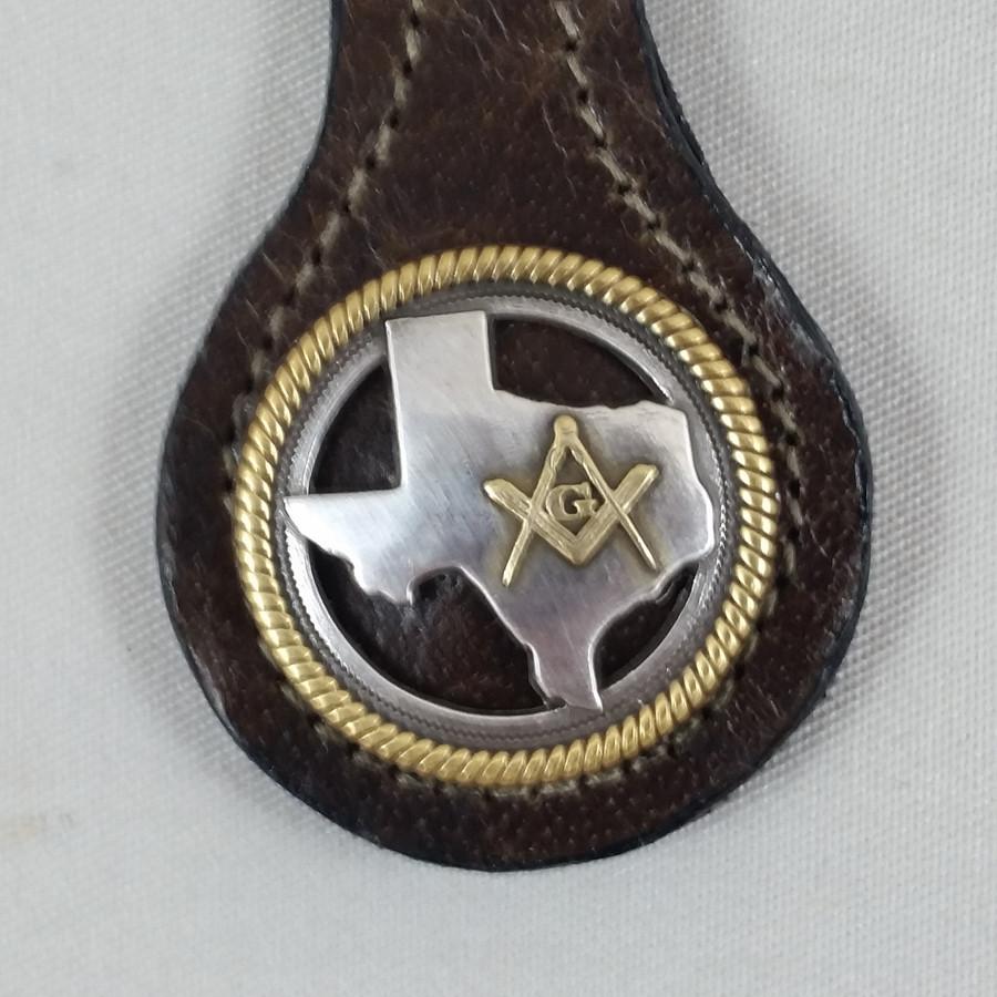 Texas Masonic Key Fob Brown