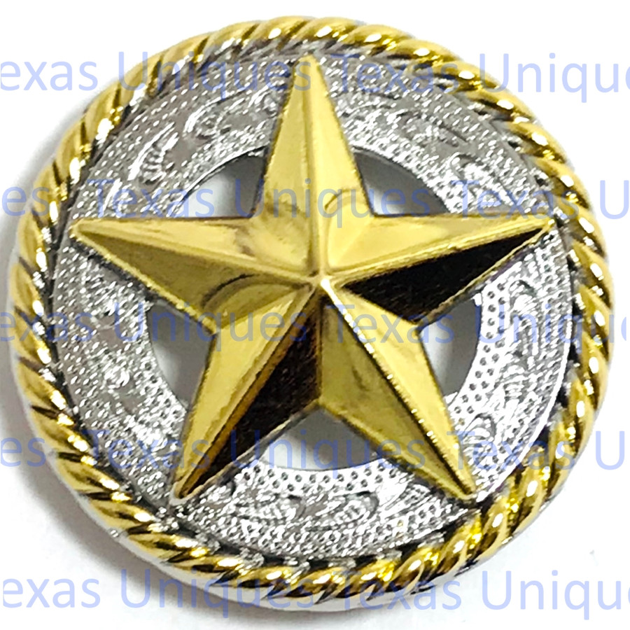 Texas Star Engraved Concho