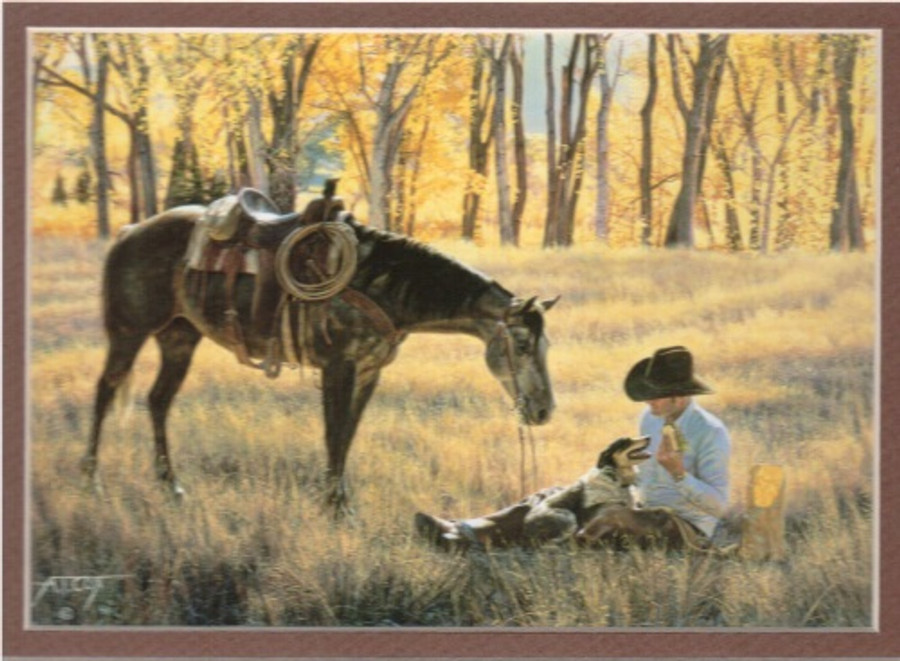 ART-TC-00011  Western Cowboy With Horse Print