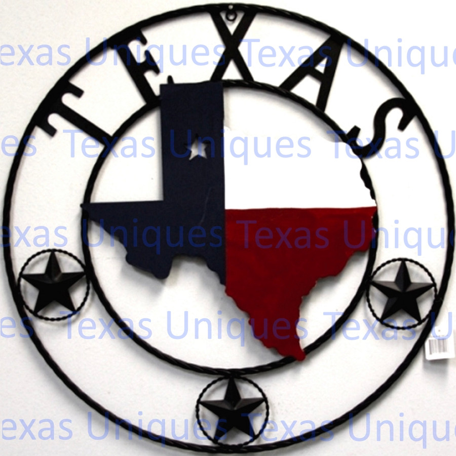 Texas Metal Art State Of Texas With Stars