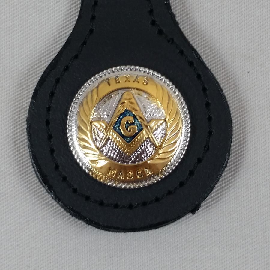 Texas Mason Shield Key Fob Black Leather