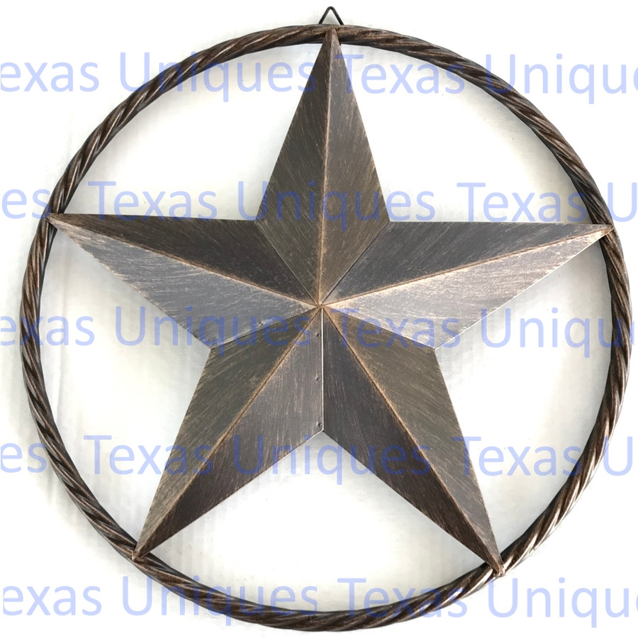 17 Inch Rustic Brown Metal Star Rope Ring Wall Decor