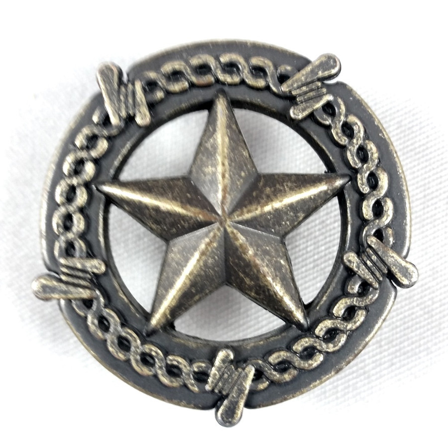 Barbwire Star Cabinet Hardware Knobs Antique Brass Finish