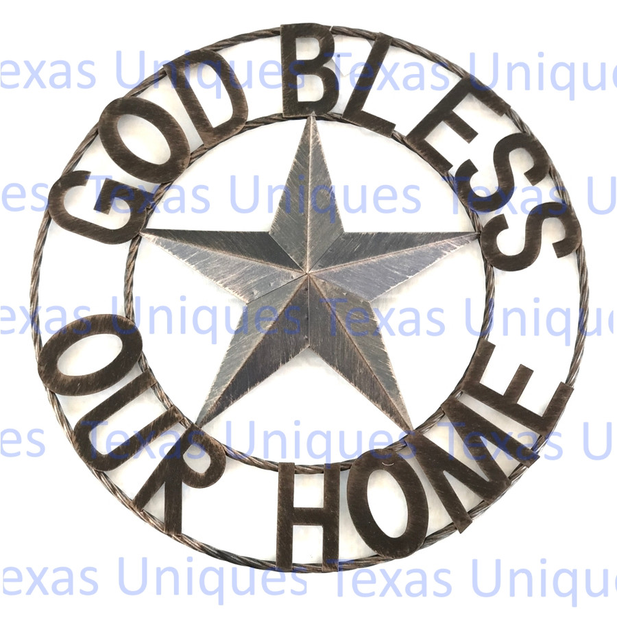 GOD BLESS OUR HOME Rustic Metal Star Rope Ring Wall Decor 25 Inch