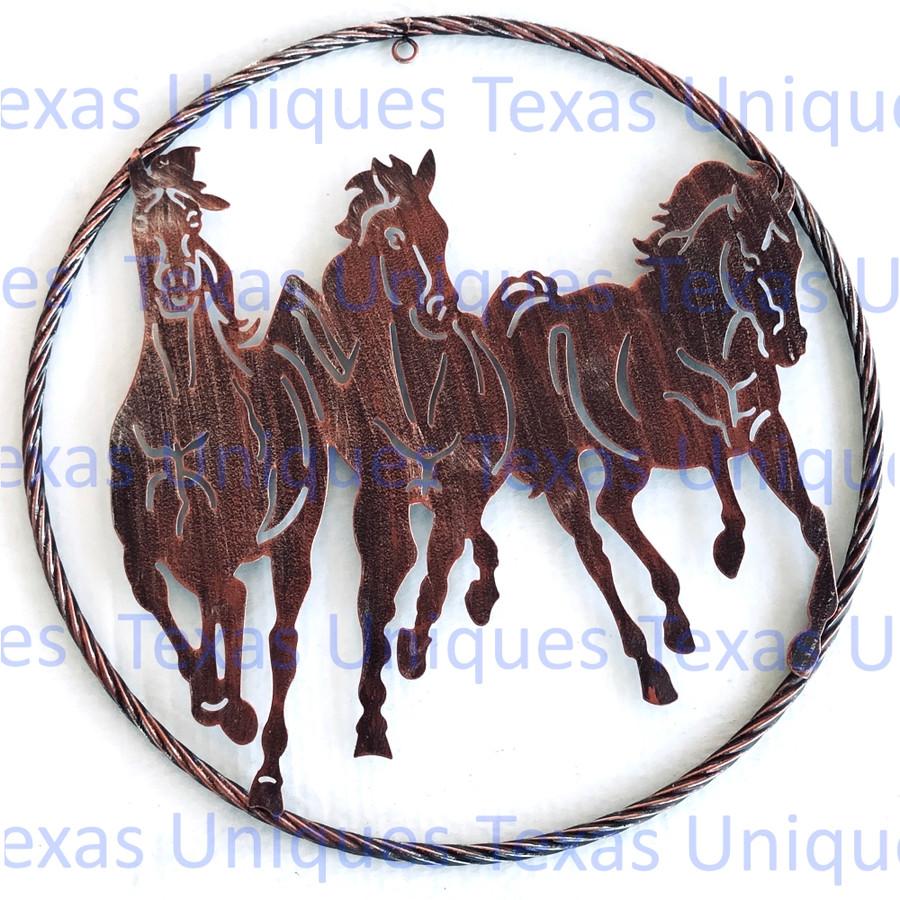 Running Horses Metal Wall Art