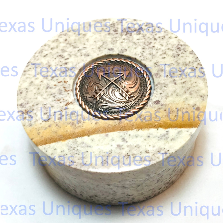 Soapstone Round Lidded Box With Crossed Arrow Accent