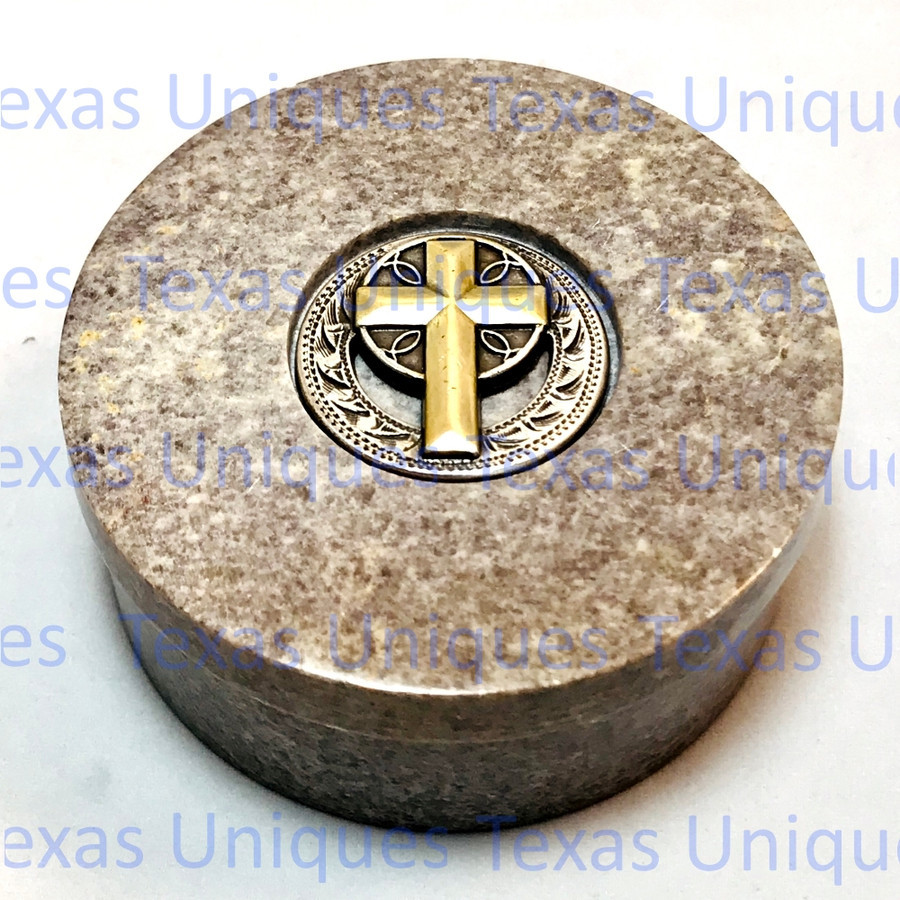 Decorative Soapstone Round Lidded Box With Cross Accent
