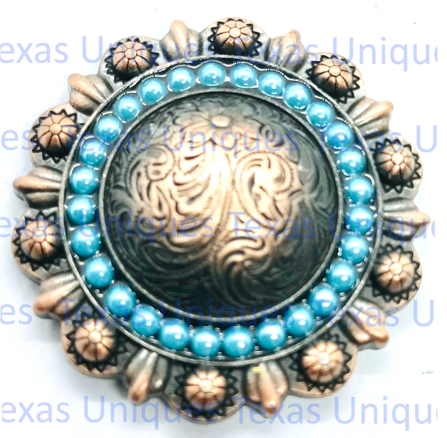 """Turquoise Cabochons Berry Concho Antique Copper Plated 1-3/8"""""""
