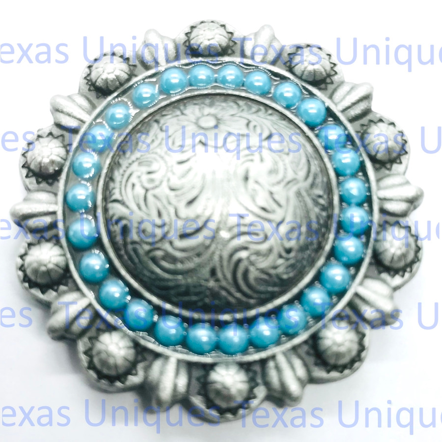 Turquoise Cabochons Berry Concho Antique Nickel Plated 1-3/8""