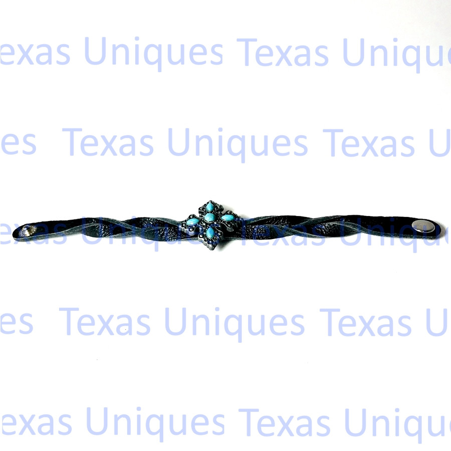 Turquoise Cross Leather Braclet