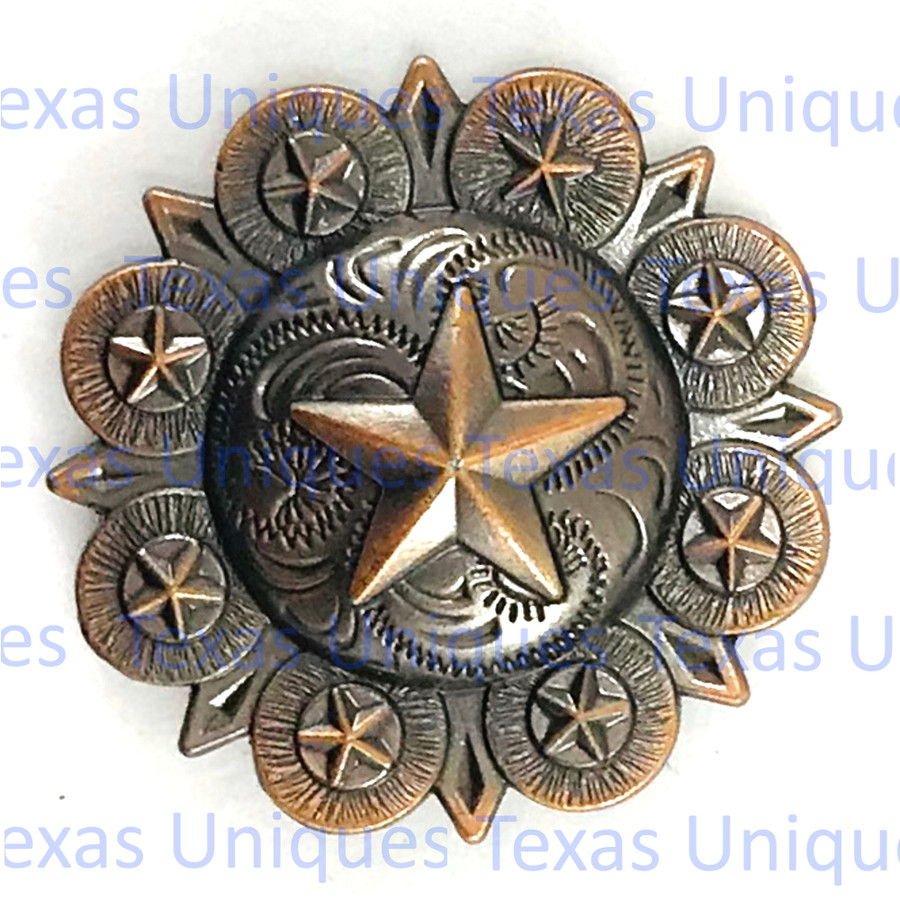 Engraved Star Cabinet knob Antique Copper