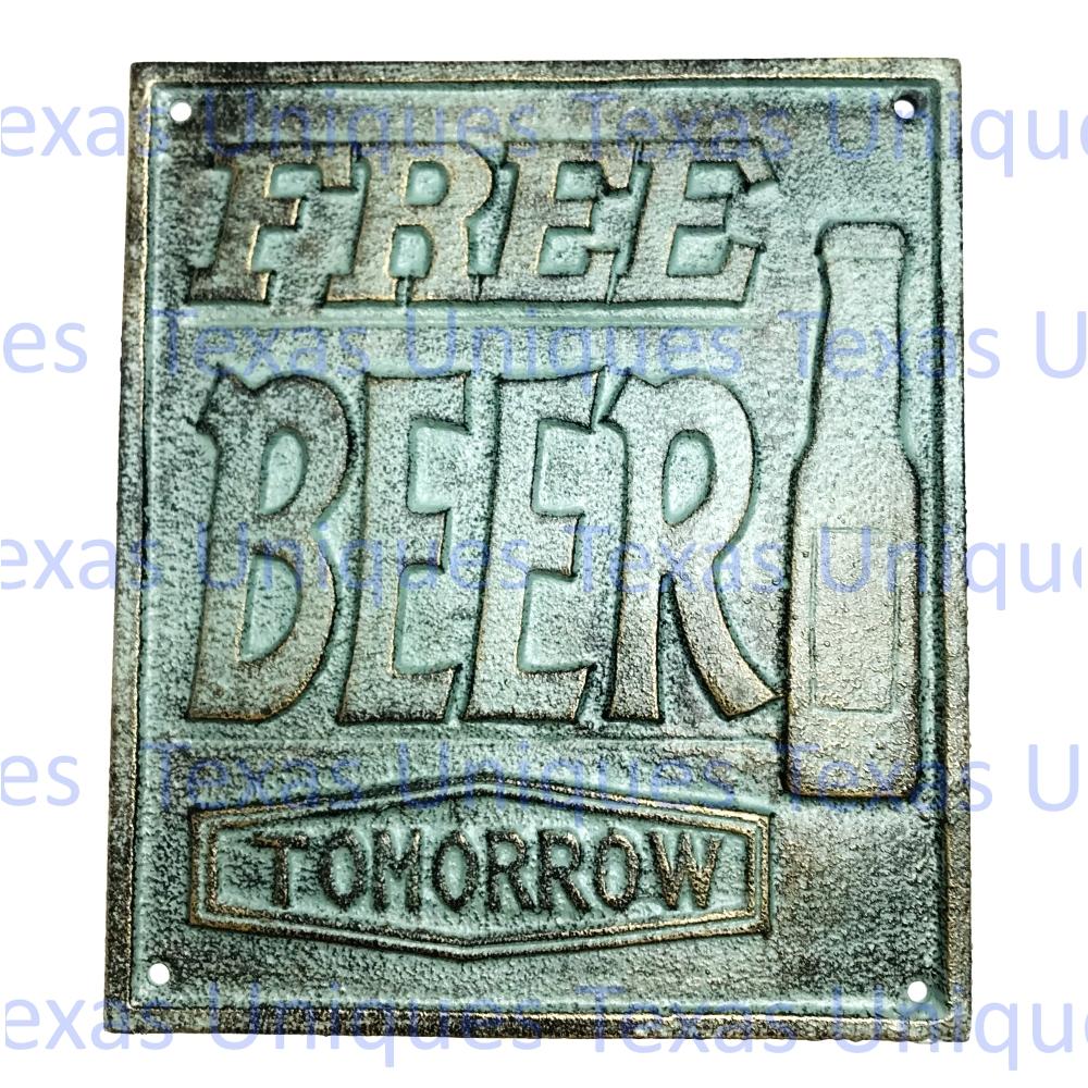 Wall Plaques Free Beer Tomorrow Man Cave Decor Texas Uniques Store