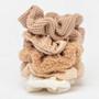 Textured Scrunchie 5 Pack - Sand