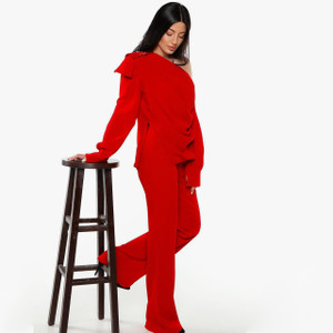 Red Two-Piece Jumpsuit