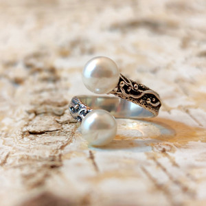 """Ring Silver """"2 Stone"""""""