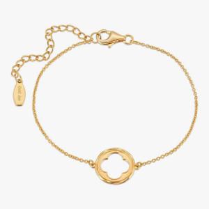 Four Leaf Clover Bracelet 18K Gold over Sterling Silver