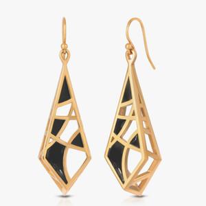 """Enamel on Gold Plated Earrings """"Dream"""""""