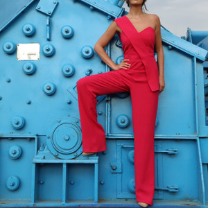 Raspberry evening jumpsuit by Aghababyan
