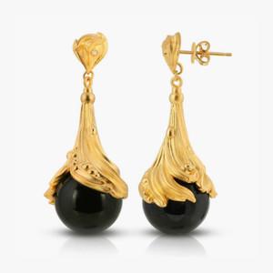 "Black Agate & Diamond 18K Gold over St. Silver ""Black Jewel"" Earrings"