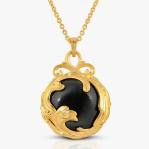 "Black Agate & Diamond 18K Gold over St. Silver ""Black Jewel"" Pendant-Necklace"