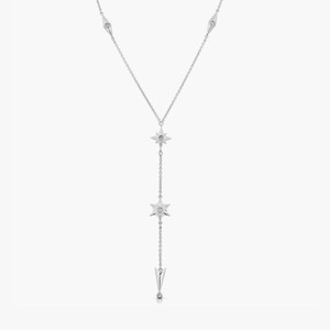 Shiny Stars Drop Y Necklace Rhodium over St. Silver