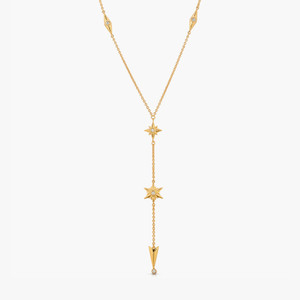 Shiny Stars Drop Y Necklace 18K Gold over St. Silver