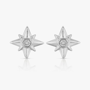Shiny Stars Stud Earrings Rhodium over St. Silver