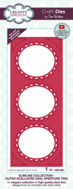 Creative Expressions Sue Wilson Slimline Outer Scalloped Oval Aperture Trio Craft Die