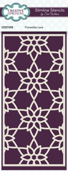Creative Expressions Sue Wilson Poinsettia Lace Slimline Stencil