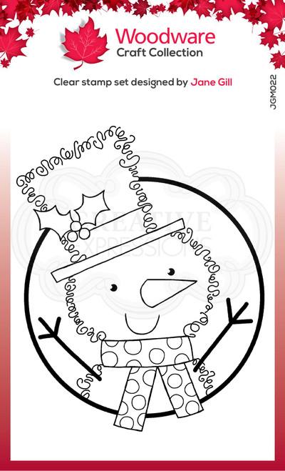 Woodware Clear Singles Festive Fuzzies – Mini Snowman 3.8 in x 2.6 in Stamp