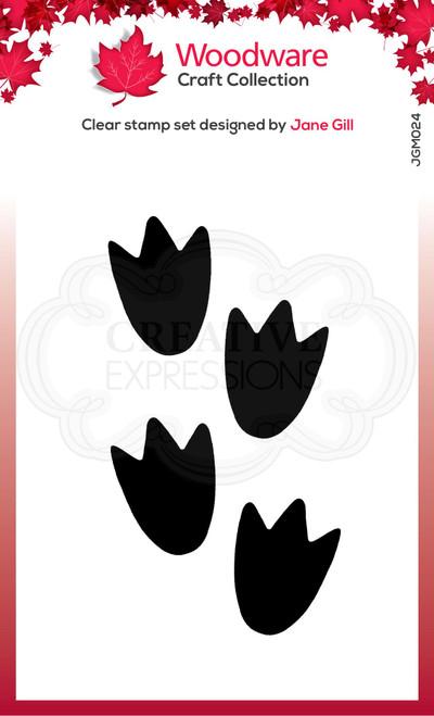 Woodware Clear Singles Festive Fuzzies – Mini Penguin Feet 2.6 in x 1.7 in Stamp