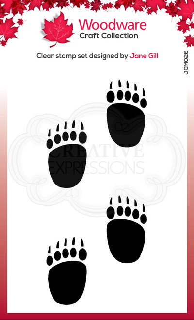 Woodware Clear Singles Festive Fuzzies – Mini Polar Bear Paws 2.6 in x 1.7 in Stamp