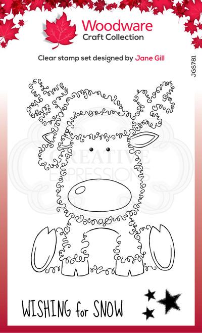 Woodware Clear Singles Festive Fuzzies – Reindeer 4 in x 6 in Stamp
