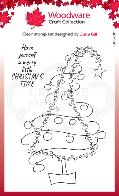 Woodware Clear Singles Festive Fuzzies – Tall Christmas Tree 4 in x 6 in Stamp