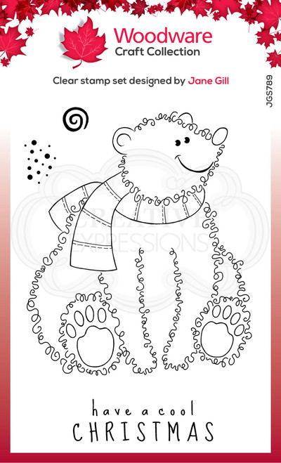 Woodware Clear Singles Festive Fuzzies – Polar Bear 4 in x 6 in Stamp