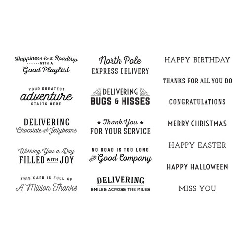 Sunday Drive All-Occasion Sentiments Clear Stamp Set
