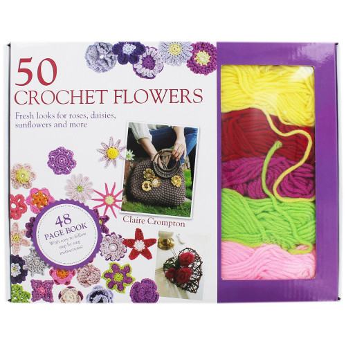 Claire Crompton 50 Crochet Flowers Patterns Book- Kit