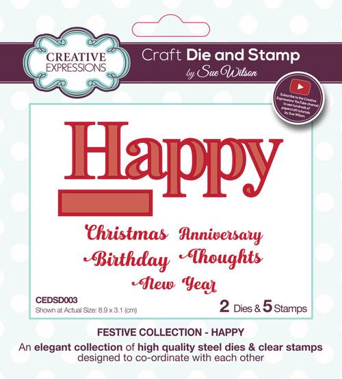 Happy & Sentiments Die and Stamp Set by Sue Wilson