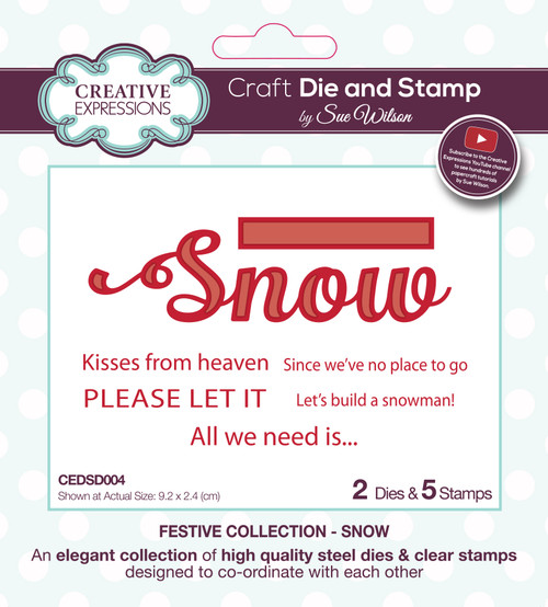 Snow & Sentiments Die and Stamp Set by Sue Wilson