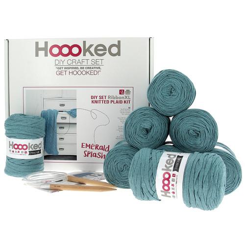 DIY Knitting Kit Ribbon XL Cable Throw - Emerald Splash