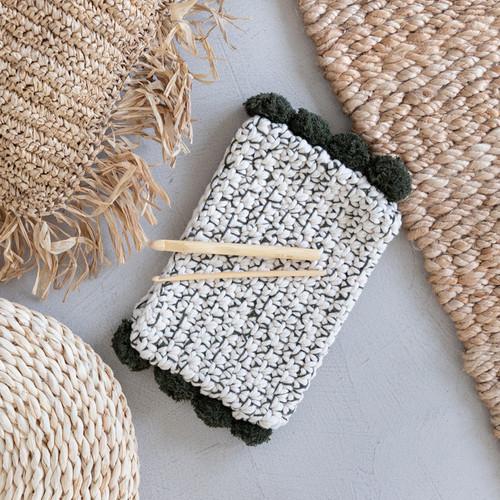 DIY Crochet Kit Pompom Clutch Santorini Oliva