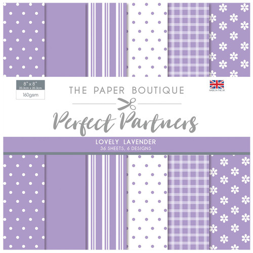 The Paper Boutique Perfect Partners 8×8 Paper Pad – Lovely Lavender