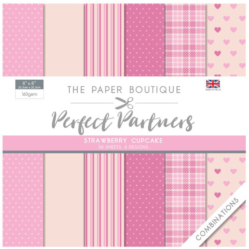 The Paper Boutique Perfect Partners 8×8 Paper Pad – Strawberry Cupcake